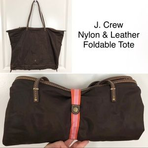 J. Crew | Nylon & Leather Foldable Tote Bag C06
